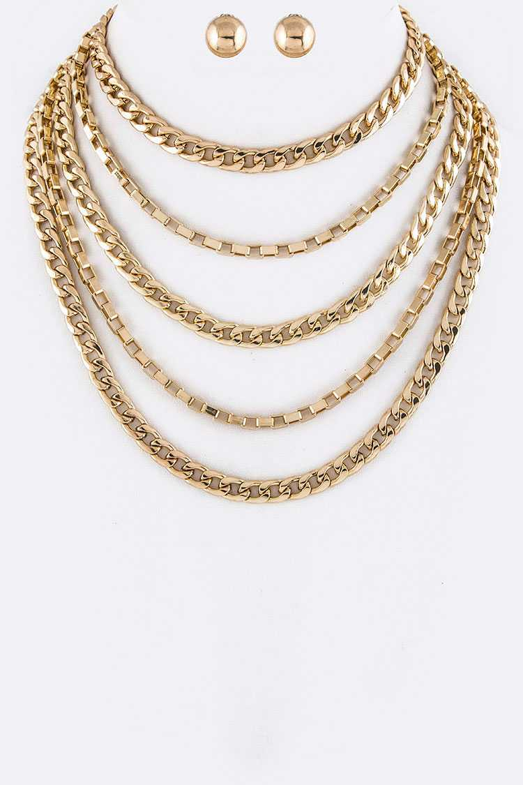 Layer Chains Choker Necklace Set