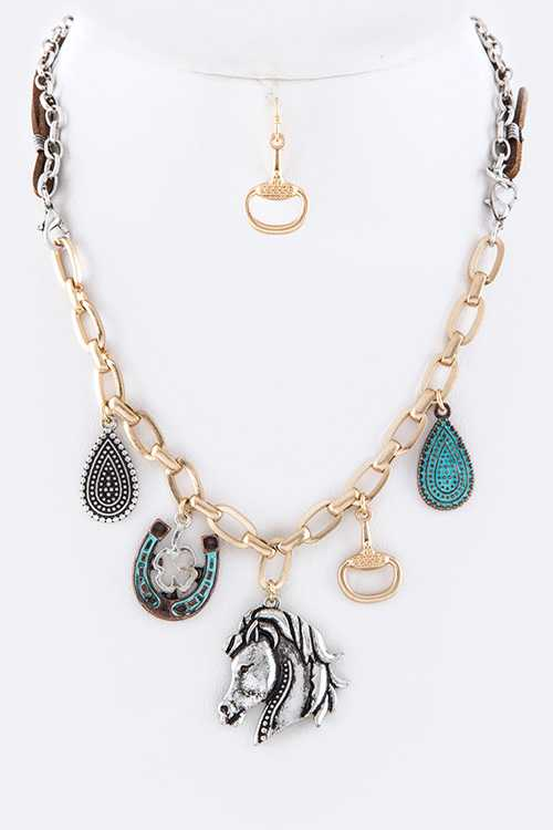 Mix Western Charm Convertible Necklace / Bracelet  Set
