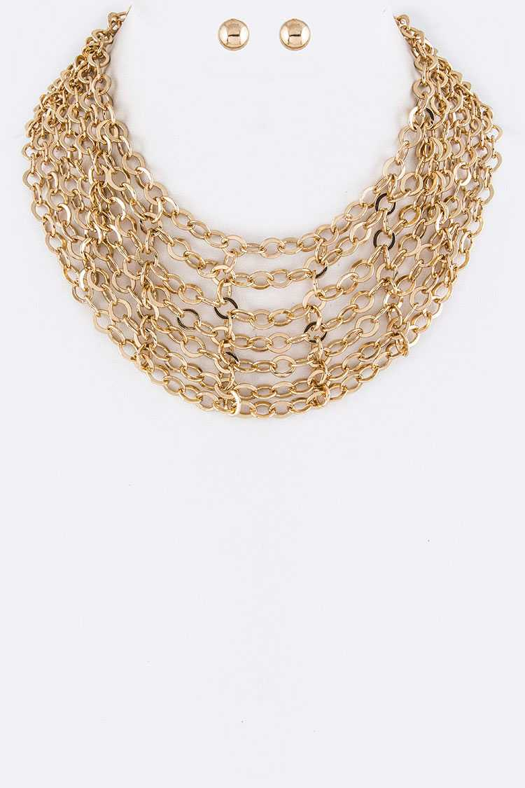 Layer Chains Collar Necklace Set