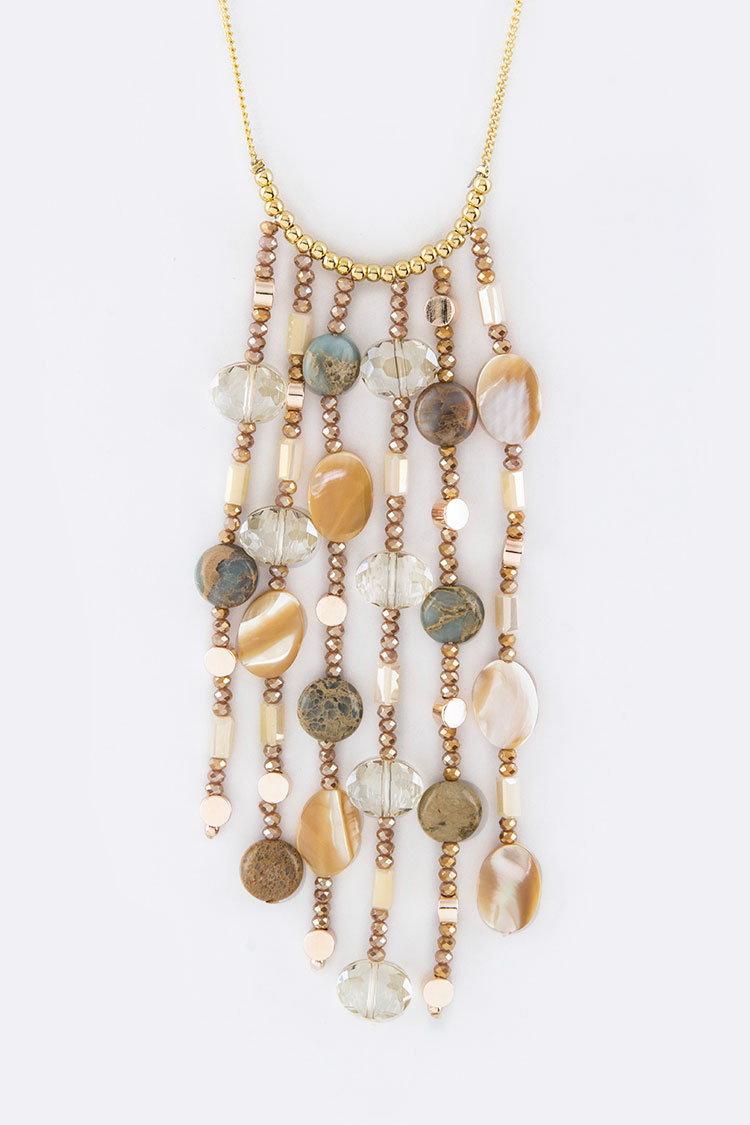 Stone Beads Mix Chain Fringe Necklace