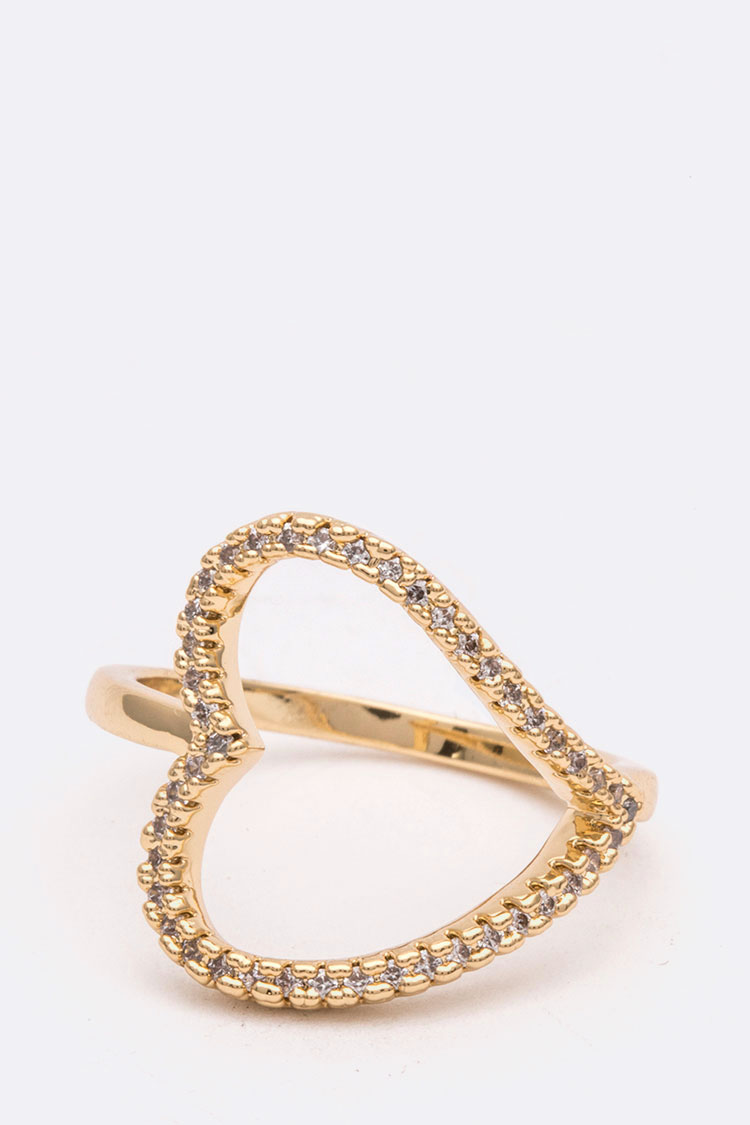 CZ Cutout Heart Iconic Size Ring