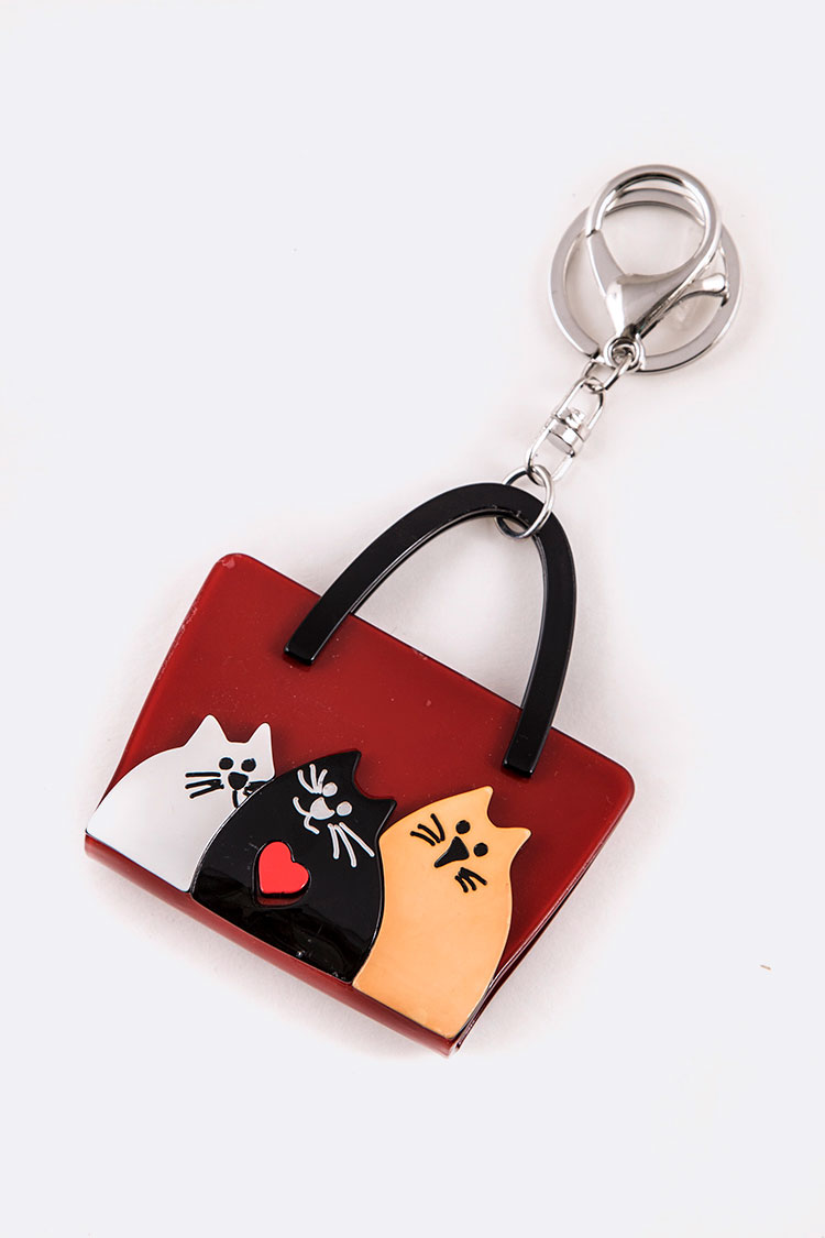 Iconic Cat Purse Resin Key Chain