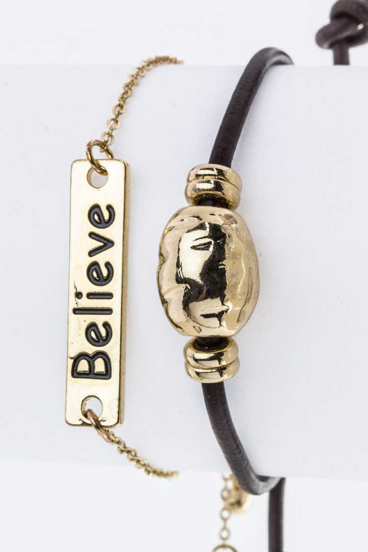 Believe Metal Tag Bracelets Set