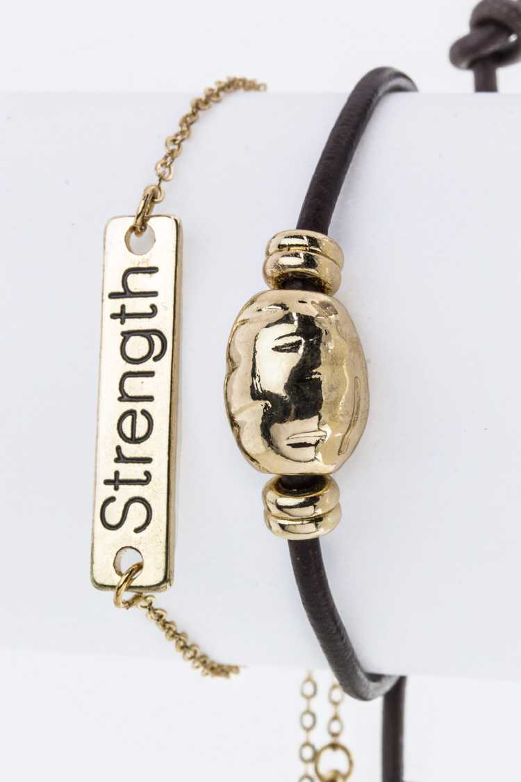 Strength Believe Metal Tag Bracelets Set