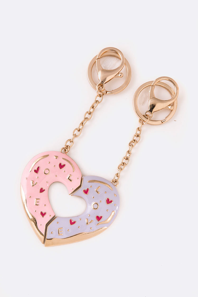 2 Pcs Perfect Heart Enamel Keychain Set