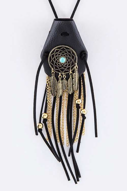 Mix Tassels Dream Catcher Iconic Pouch Necklace