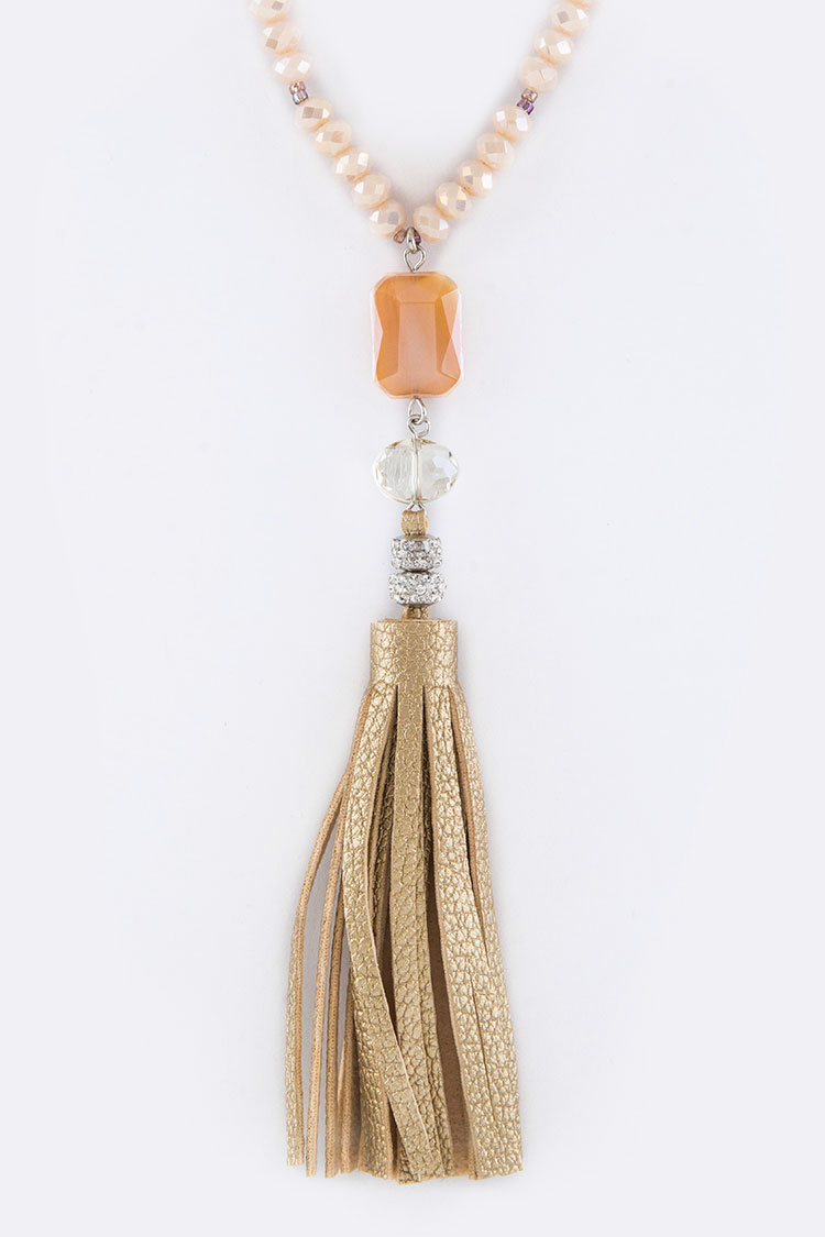 Mix Beads & Leather Tassel Necklace Set