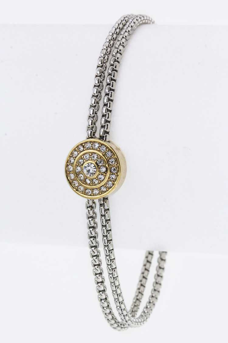 Crystal Disk Layer Chains Bracelet
