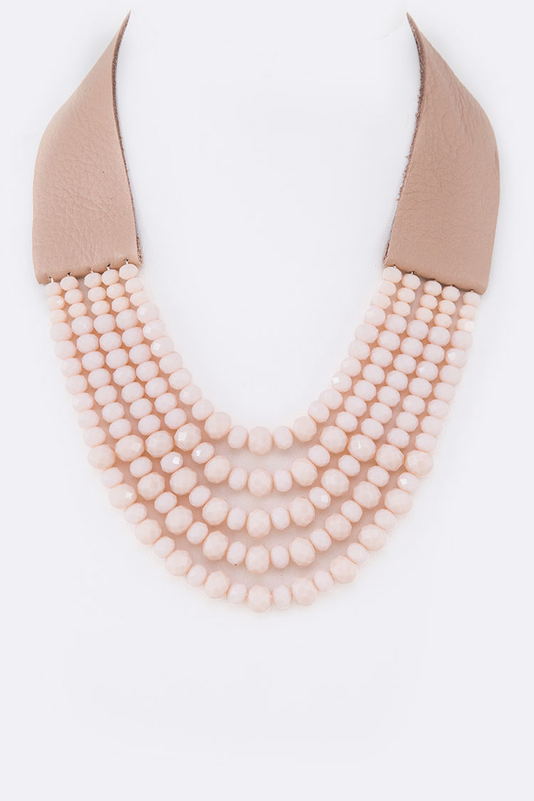 Layer Beads Leather Necklace