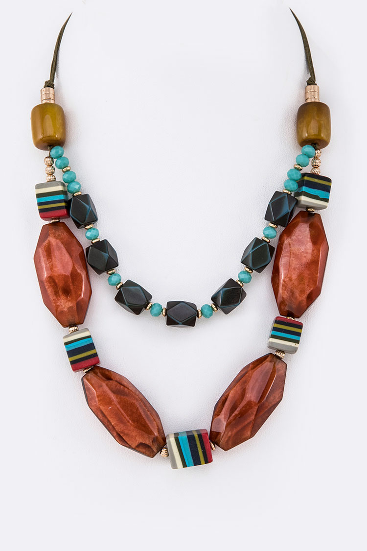 Natural Resin Beads Layer Necklace