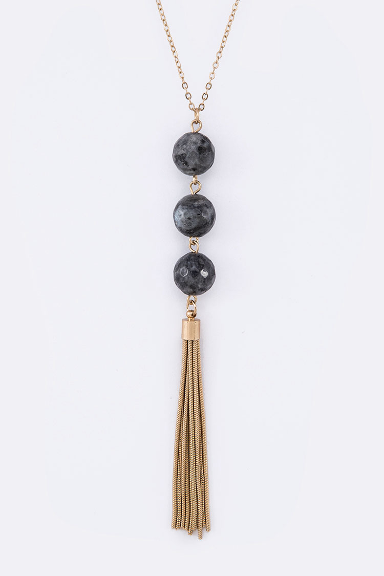 Triple Beads Chain Tassel Pendant Necklace