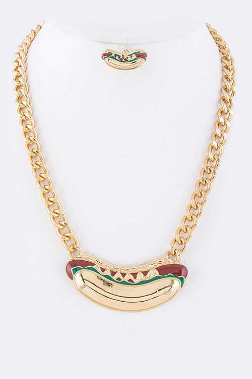 Iconic Hotdog Statement Necklace Set