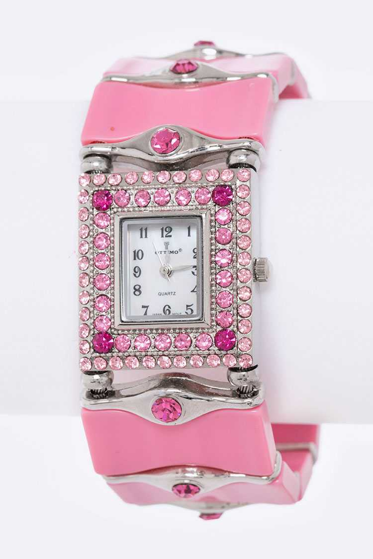 Crystal & Resin Bangle Watch