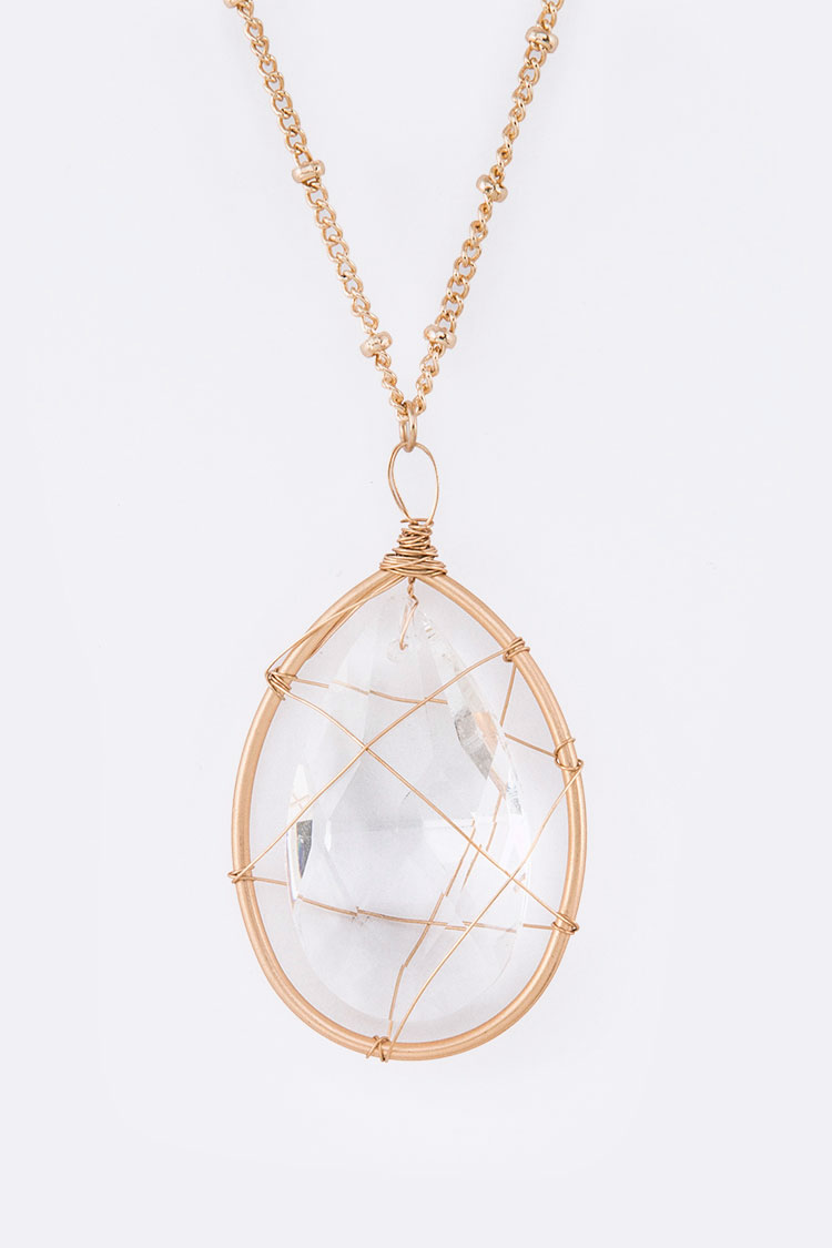 Wired Crystal Teardrop Pendant Necklace