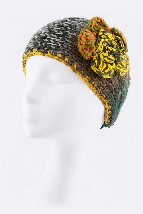 Mix Yarn Floral Knit Head Wrap