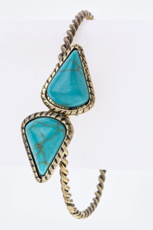 Turquoise Tipped Open Bangle