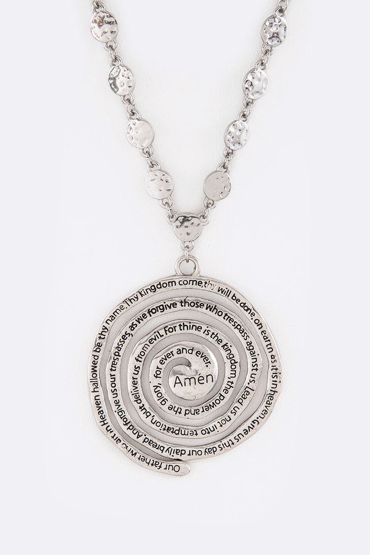 The Lord's Prayer Engraved Pendant Necklace Set