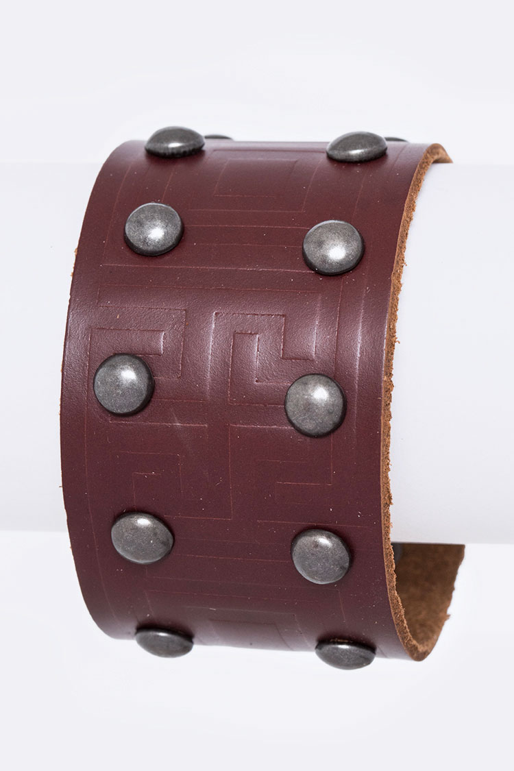 Studs & Embossed Leather Cuff