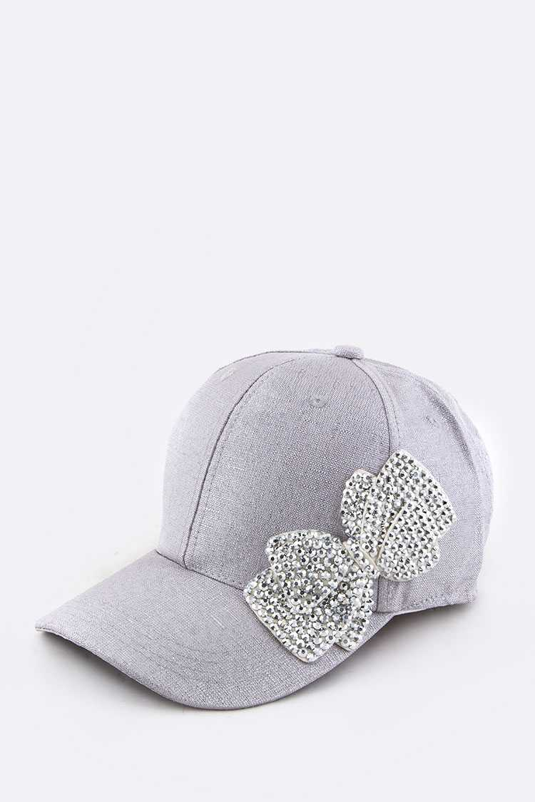 Crystal Bow Fashion Lurex Cap
