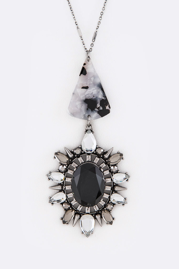 Celluloid Crystal Drop Pendant Necklace