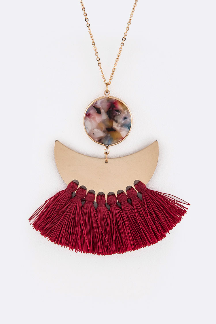 Celluloid Mix Metal Pendant Tassel Long Necklace Set