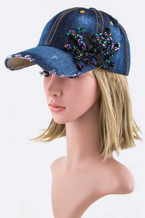 Sequins Flower Bow Fashion Denim Cap