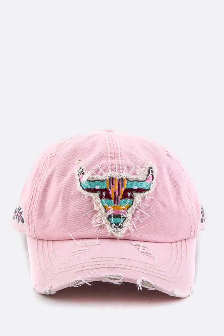 Tribal Cow Embroidery Cotton Cap