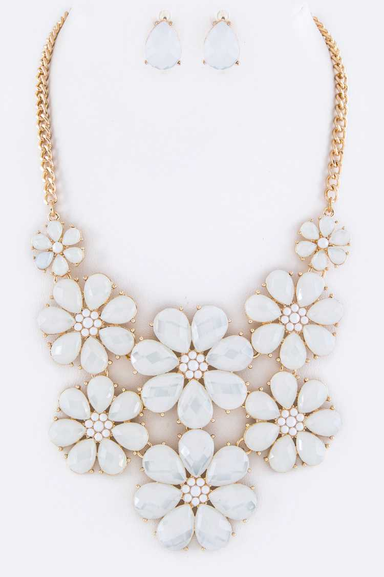 Resin Flowers Statement Necklace Set