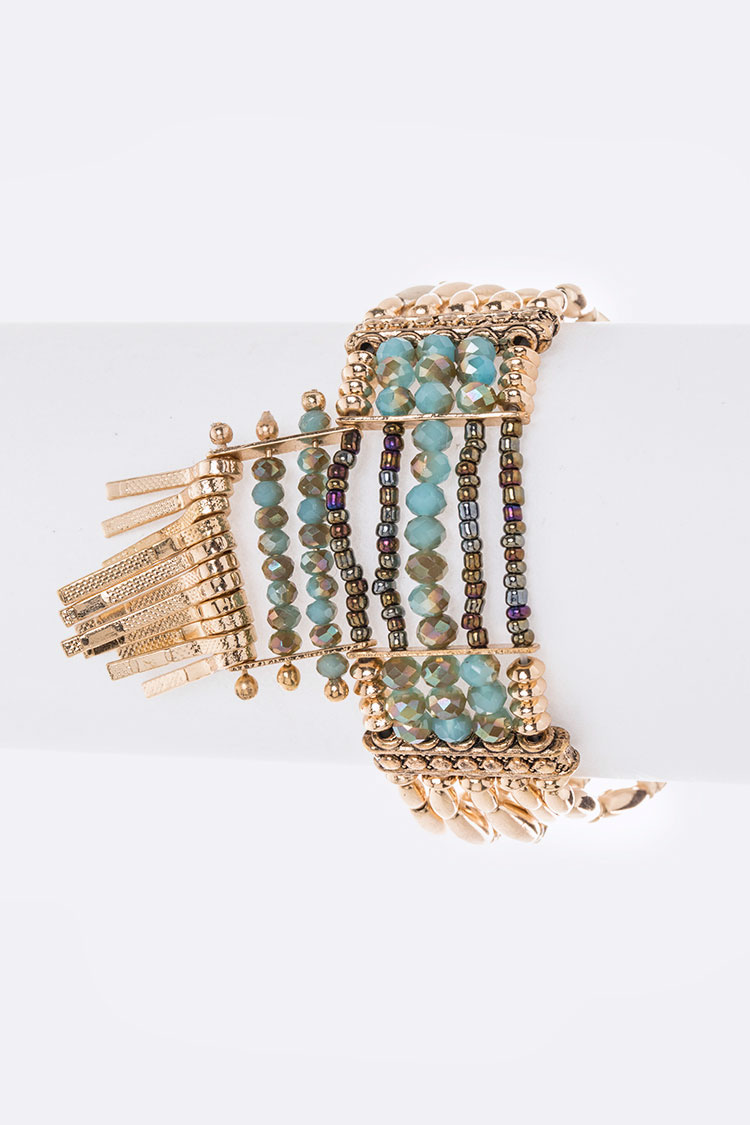 Iconic Layer Beading Stretch Bracelet