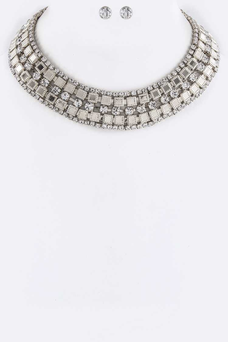 Mix Crystals Layer Collar Necklace Set