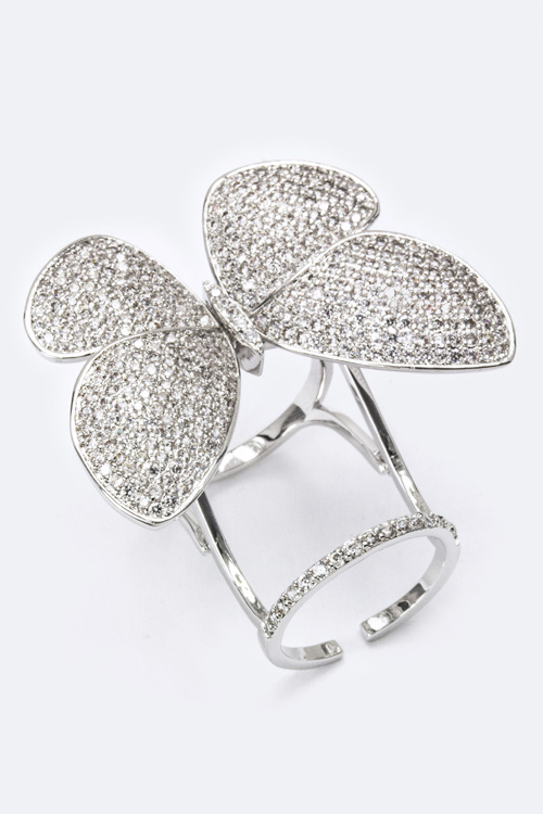 CZ Kinetic Butterfly Ring