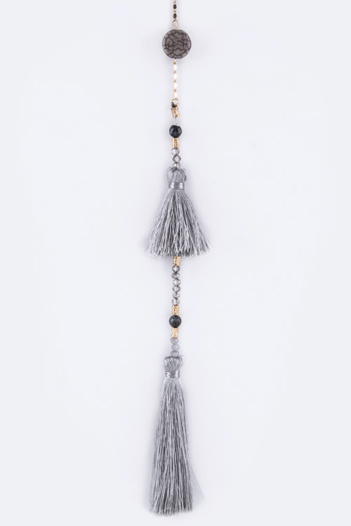 Tassels & Beads Delicated Long Hand Made Necklace Set