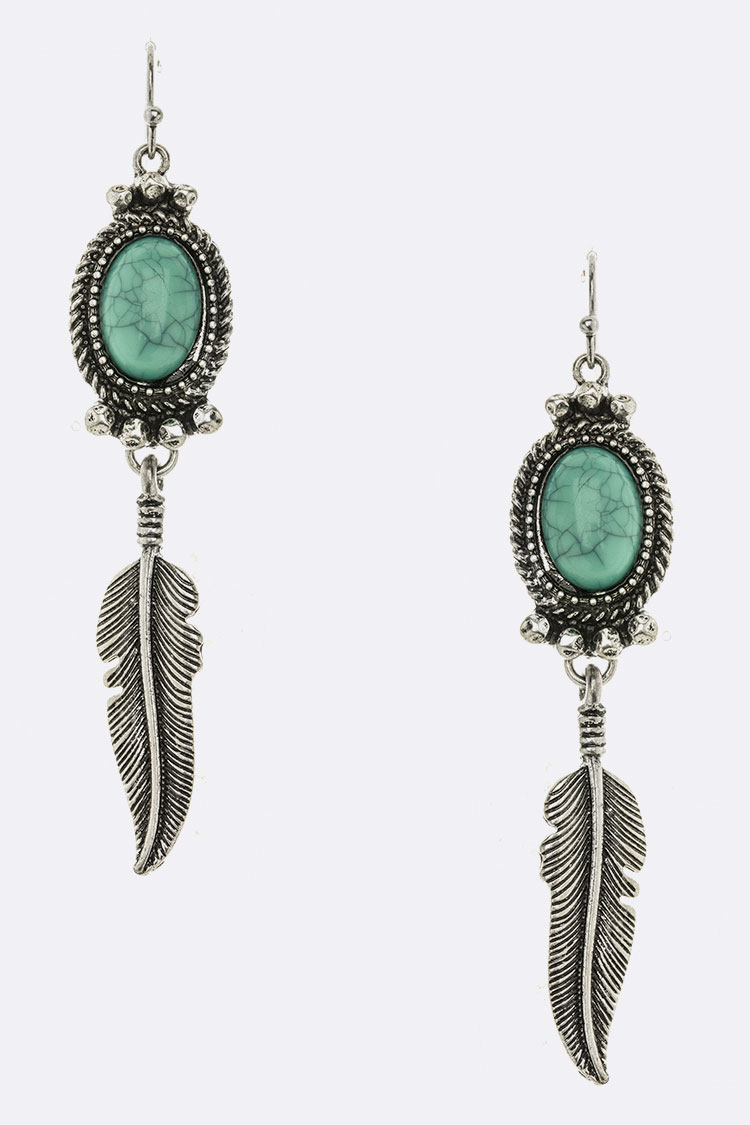 Metal Feather Drop Turquoise Earrings