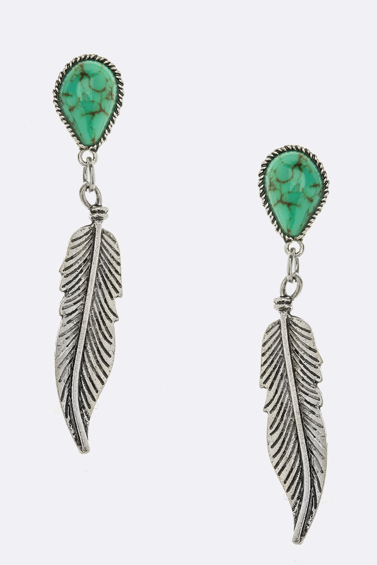 Turquoise Metal Feather Drop Earrings