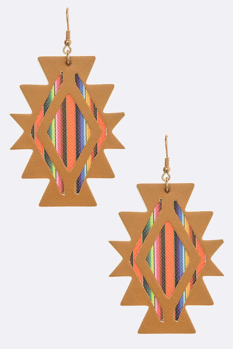 Aztec Pattern Cutout Earrings