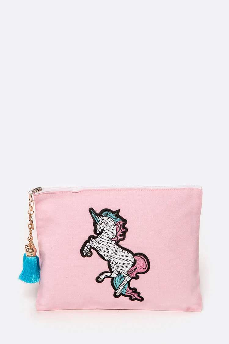 Unicorn Tassel Canvas Pouch