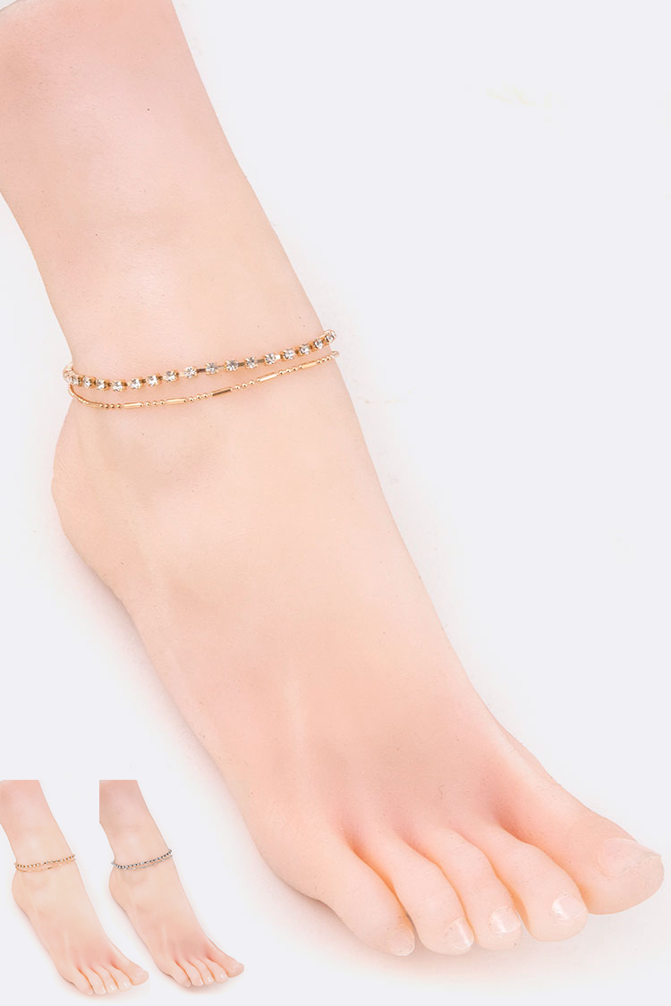 Rhinestone Layer Anklet Set