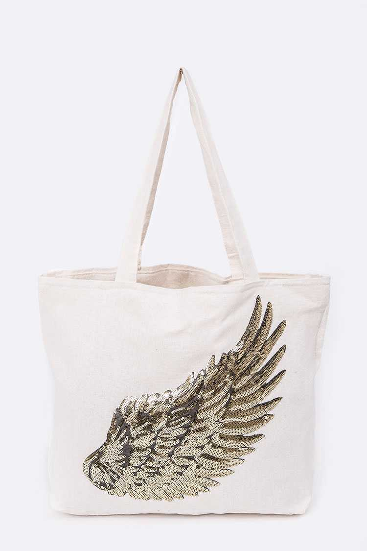 Sequins Wing Canvas Tote