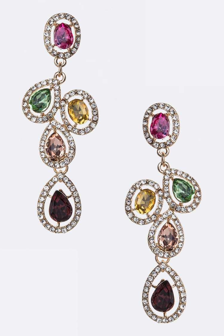 Mix Color Crystal Chandelier Earrings