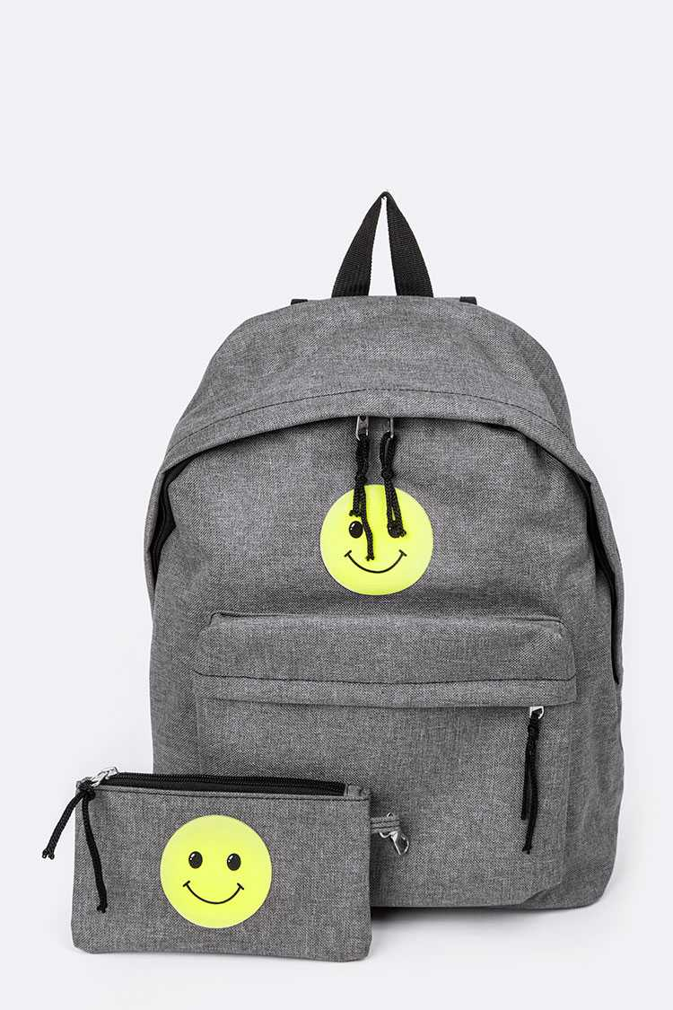 Glow In The Dark Smily Face Canvas Backpack Set