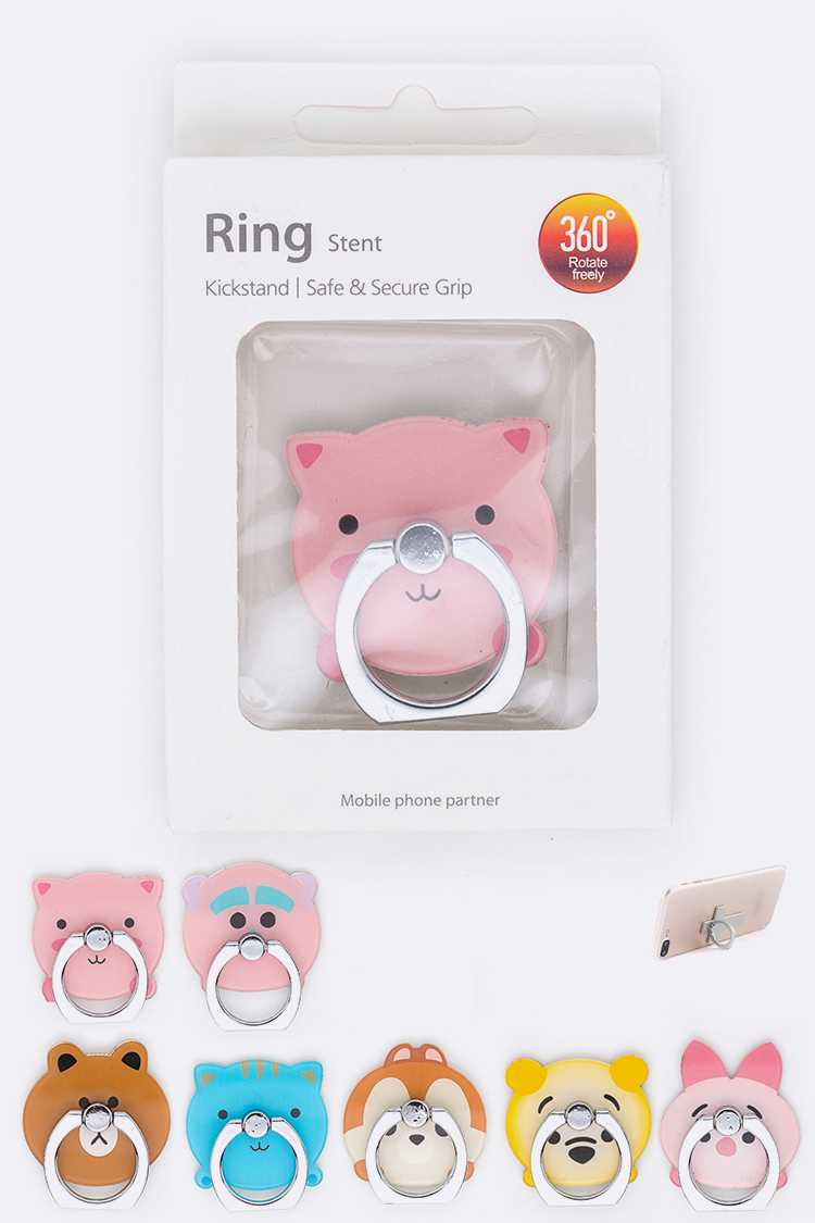 Cutie Animals Phone Ring Stand Set