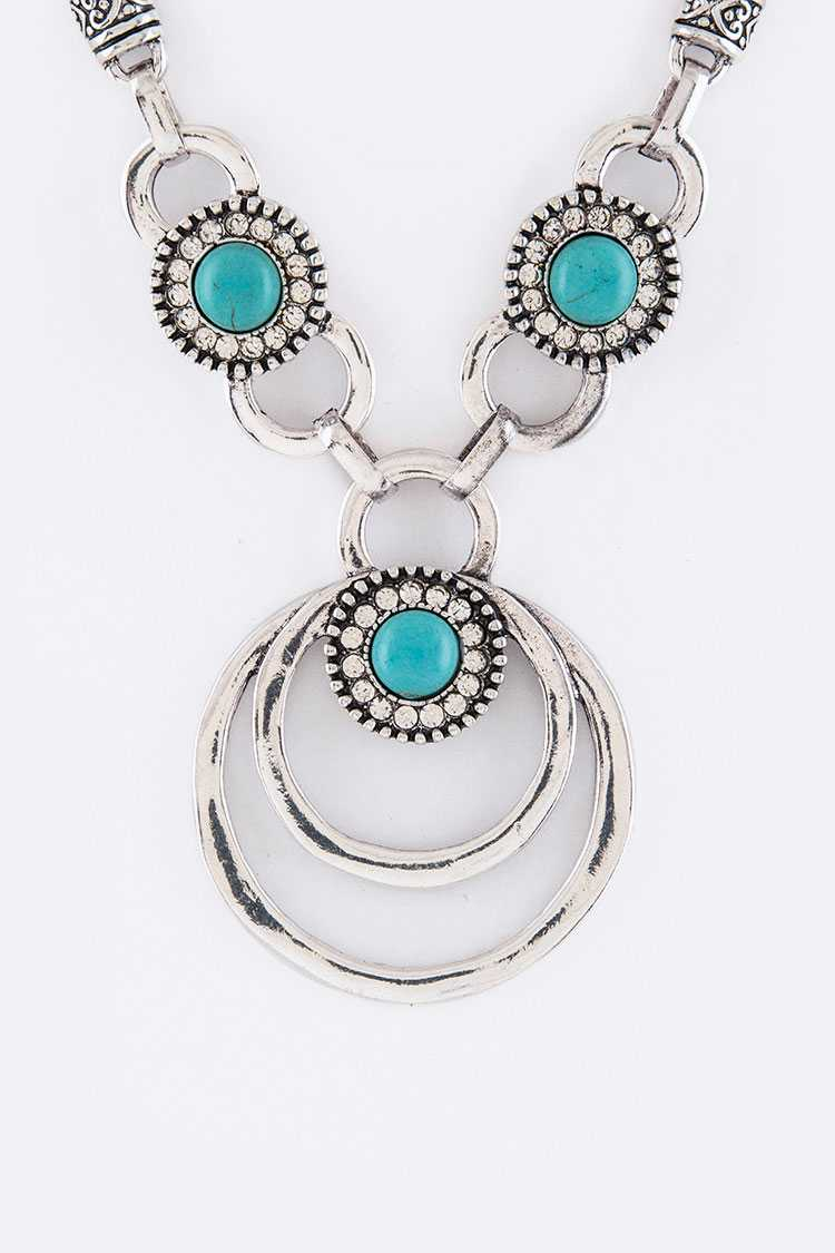 Pave Crystal & Turquoise Hoops Necklace Set