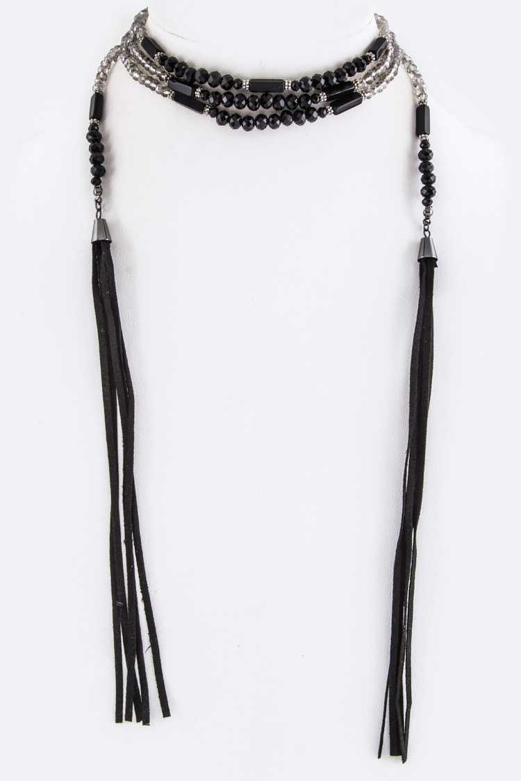 Mix Beads & Suede Tassel Wrapped Choker