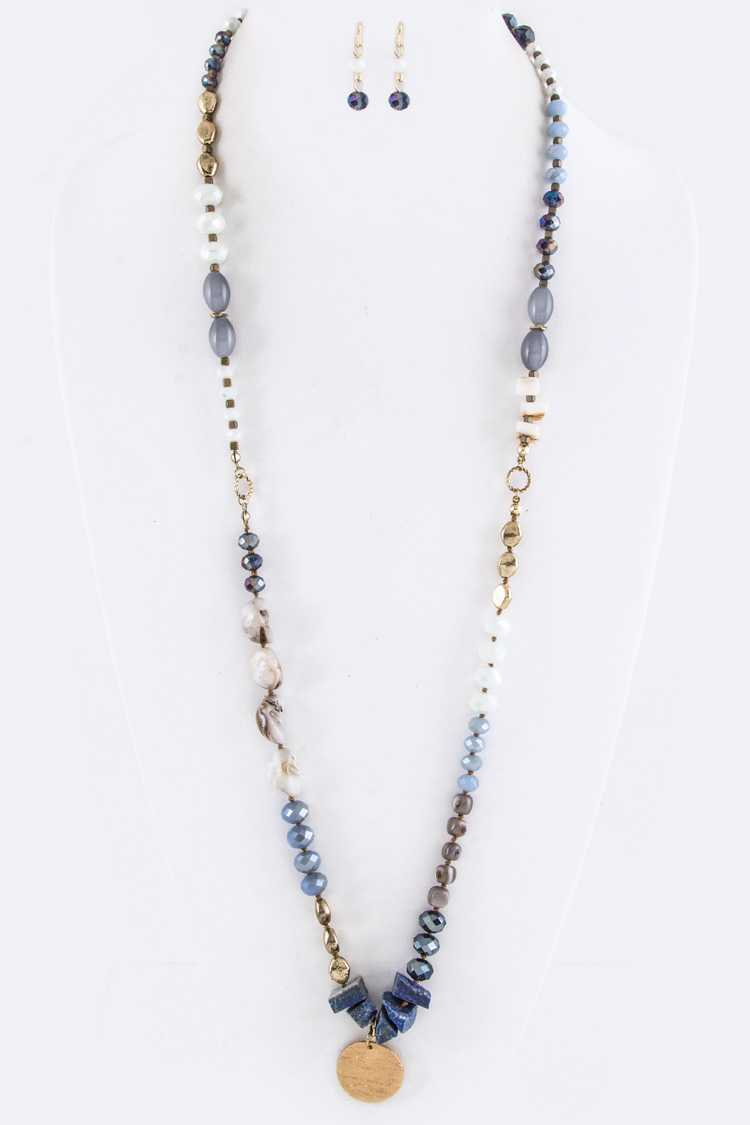 Mix Beads & Metal Disk Necklace Set