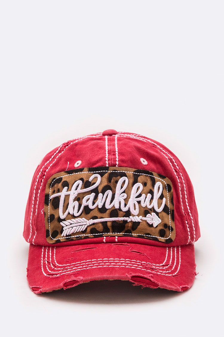 Thankful Leopard Print Patch Distress Cotton Cap