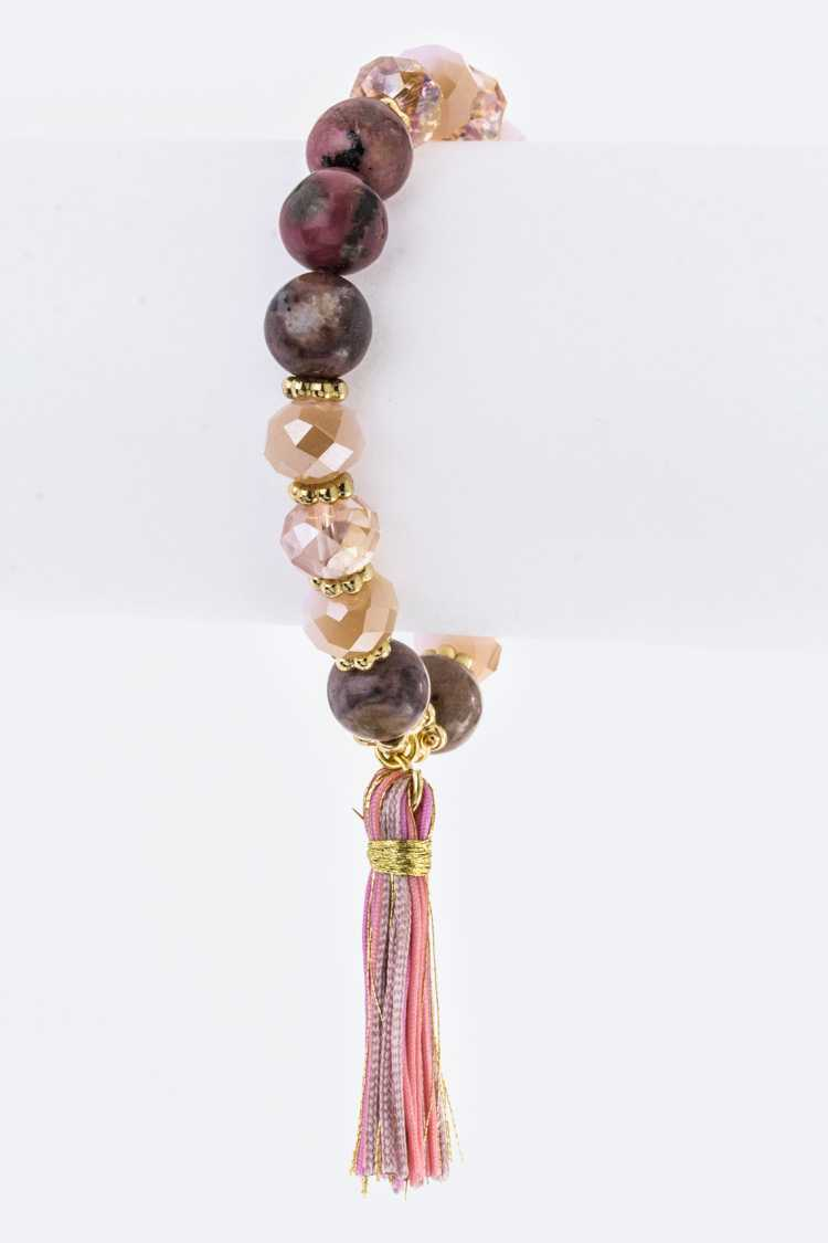 Mix Beads & Tassel Stretch Bracelet