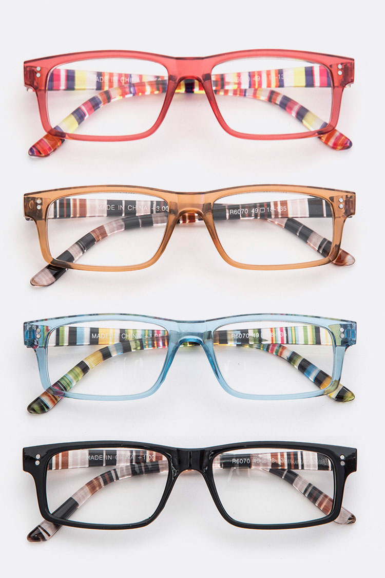 Stripy Bridge Reading Glasses Set