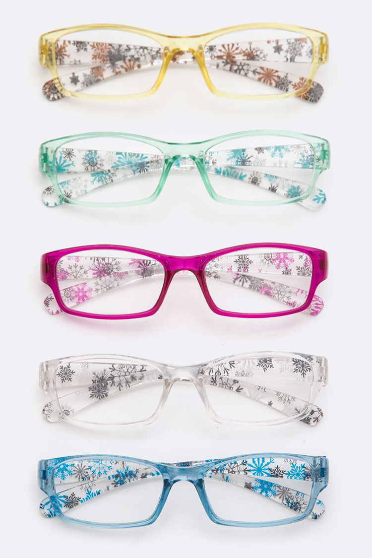 Floral Icoicn Color Frame Reading Sunglasses