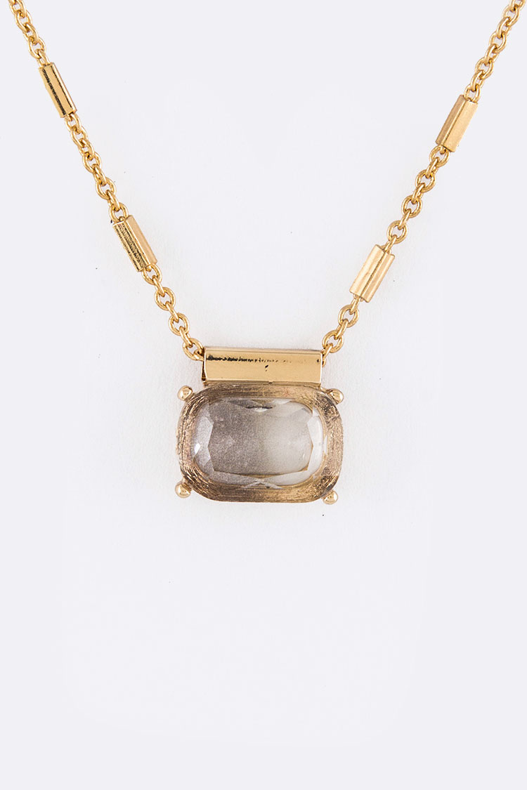 2 Tone Glass Stone Pendant Necklace