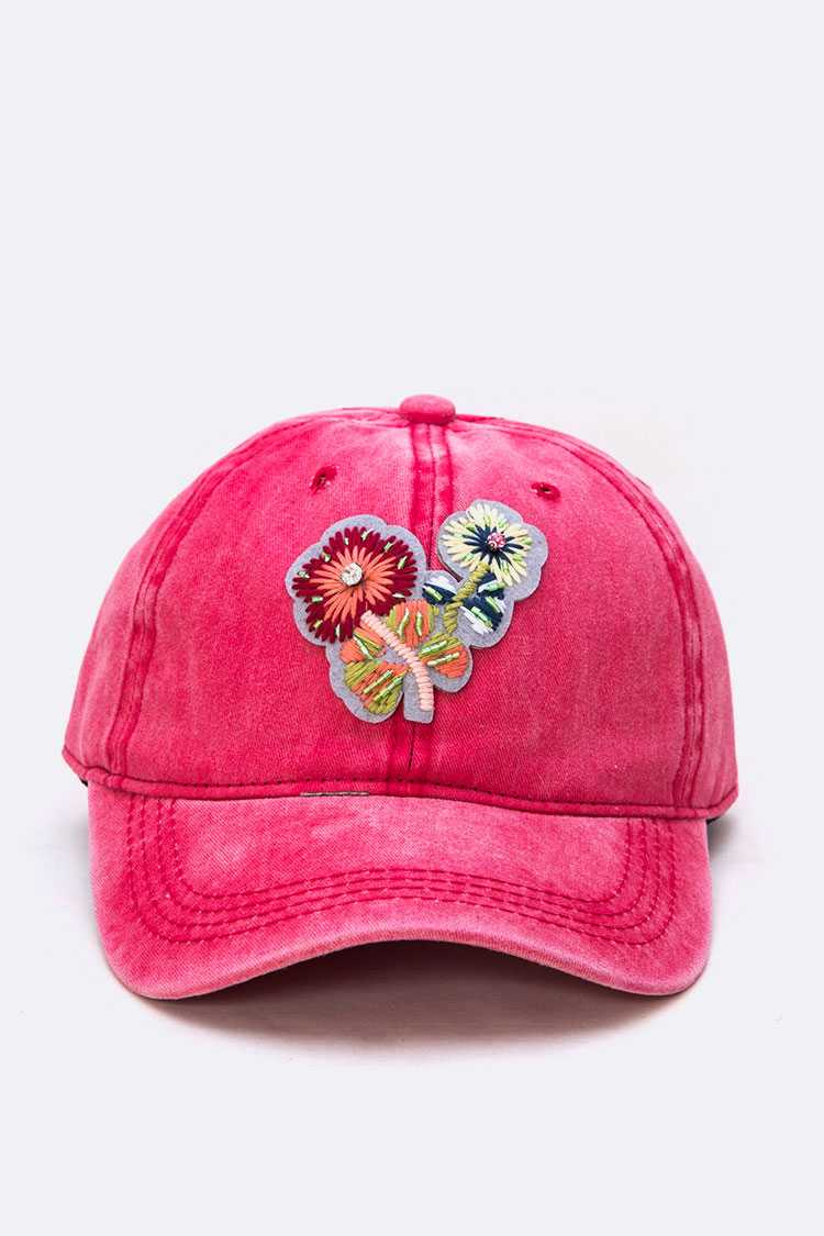 Embroidered Flower Washed Cotton Cap
